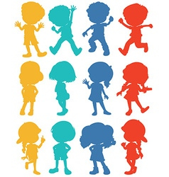 Silhouette children in four colors vector