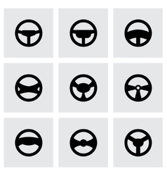 steering wheels icon set vector image vector image