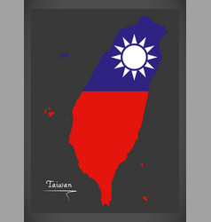 Taiwan map with taiwanese national flag vector