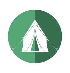 Tent equipment camping activities green circle vector