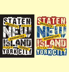 Vintage staten island new york vector