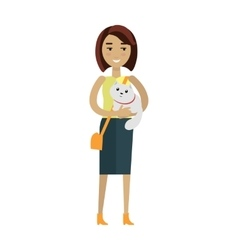Woman with cat in flat design vector