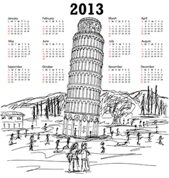 Leaning tower of pisa 2013 calendar vector