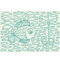 Cartoon drawing of big fish vector