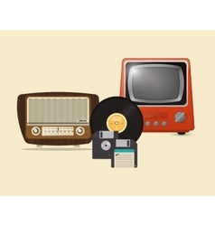 Retro hipster radio vinyl record floppy disk and vector