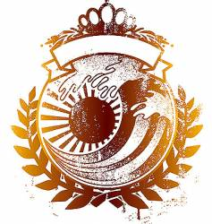 Japan king wave emblem vector