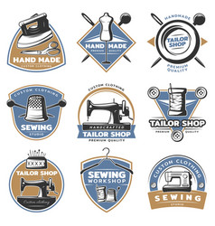 colorful sewing labels set vector image