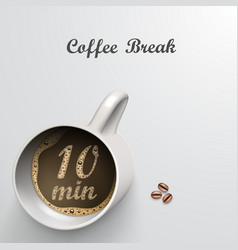 Cup with a time of minutes break vector