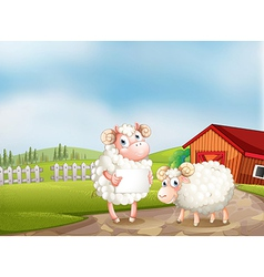 A sheep at the farm holding an empty signboard vector
