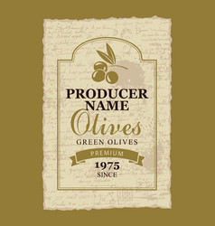 Label for green olives with a branch and olives vector