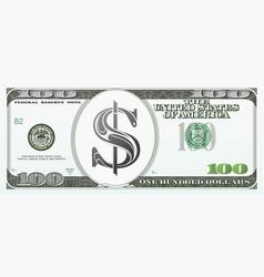 100 dollars as cartoon money vector image