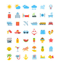 summer vacation travel icons vector image