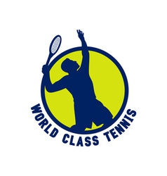 Tennis player silhouette serving vector