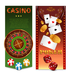 Realistic casino games vertical banners vector