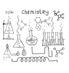 Hand drawn chemistry set vector image