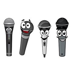 Cartoon happy wireless microphones characters vector image