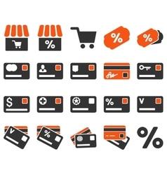 Shopping and bank card icon set vector