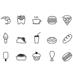 junk food fast food outline icons set vector image