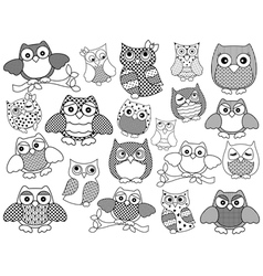 Amusing and funny owls black outlines vector