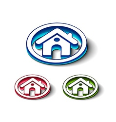 3d glossy home icon vector