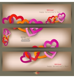 Set of three banners with paper hearts valentines vector