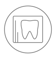 X-ray of tooth line icon vector