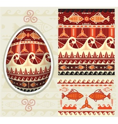 Traditional folk ornament for easter eggs pysanka vector