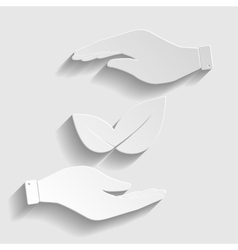 Leaf sign Paper style icon vector image