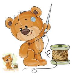 a brown teddy bear tailor vector image vector image