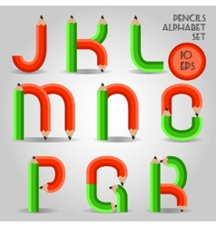 Alphabet in wooden pencil style red and green vector image vector image