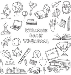 Back to school set of kids doodles with bus books vector image