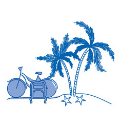 Blue shading silhouette of landscape in beach with vector