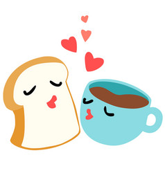 Bread and coffee are lover breakfast vector