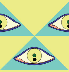 Brush drawn eyes and triangles seamless vector