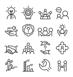 business consultant icon set in thin line style vector image vector image