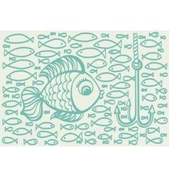 Cartoon drawing of big fish vector