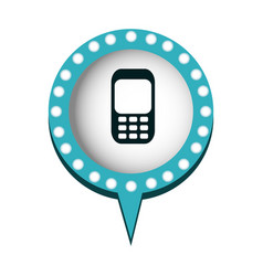 Cell phone in circular speech with blue contour vector
