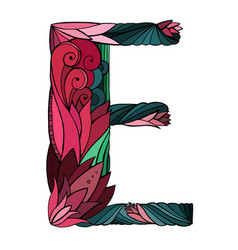 Coloring freehand drawing capital letter e vector