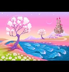 Fantasy landscape with castle vector image vector image