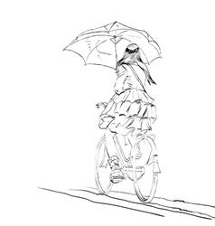 Girl on bike with umbrella autumn rain vector