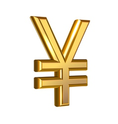 Golden Yen on white vector image