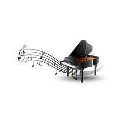 grand piano with music notes vector image vector image