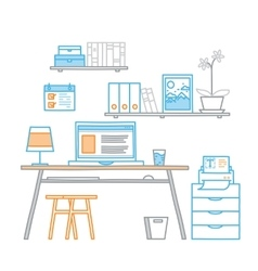 Hand drawn office workspace minimalistic linear vector