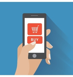 Hand holding smartphone with buy button vector image vector image