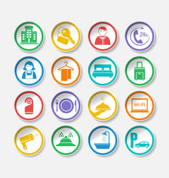 Hotel travel stickers vector image