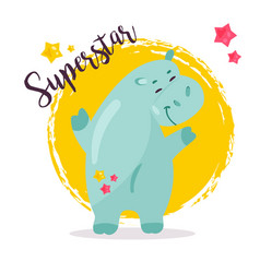 Image of a funny superstar hippo vector