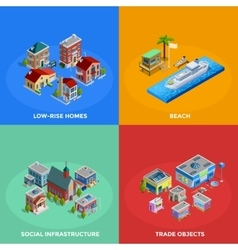 Isometric City 2x2 Icons Set vector image vector image