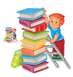 little boy is standing on the ladder and vector image vector image