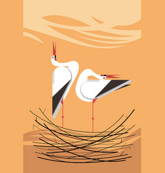 love song of storks in the nest vector image
