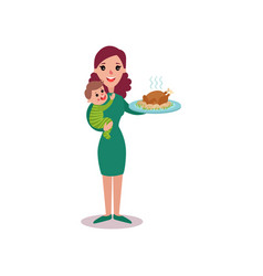 Mother holding roasted chicken in one arm and baby vector